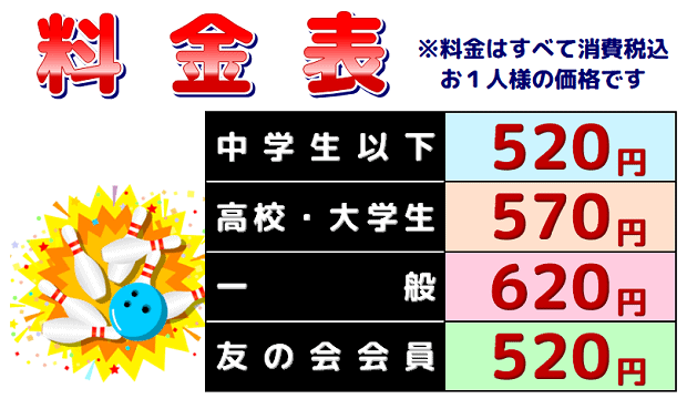 幸田セントラルボウル料金表